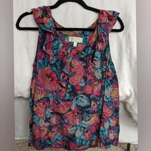 Silk Floral Anthropologie Blouse